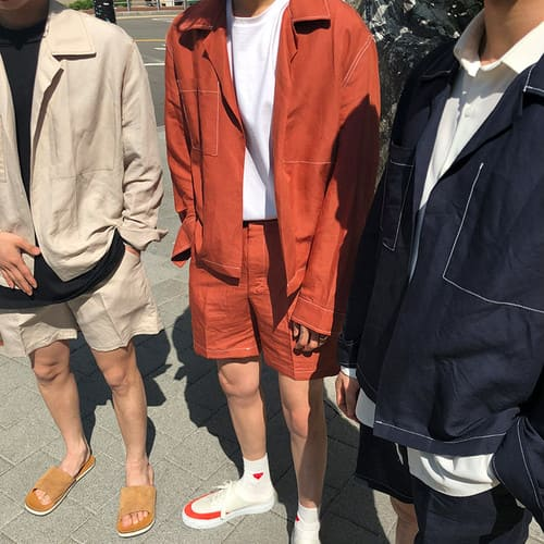 シャツジャケット+ハーフパンツ セットアップ
