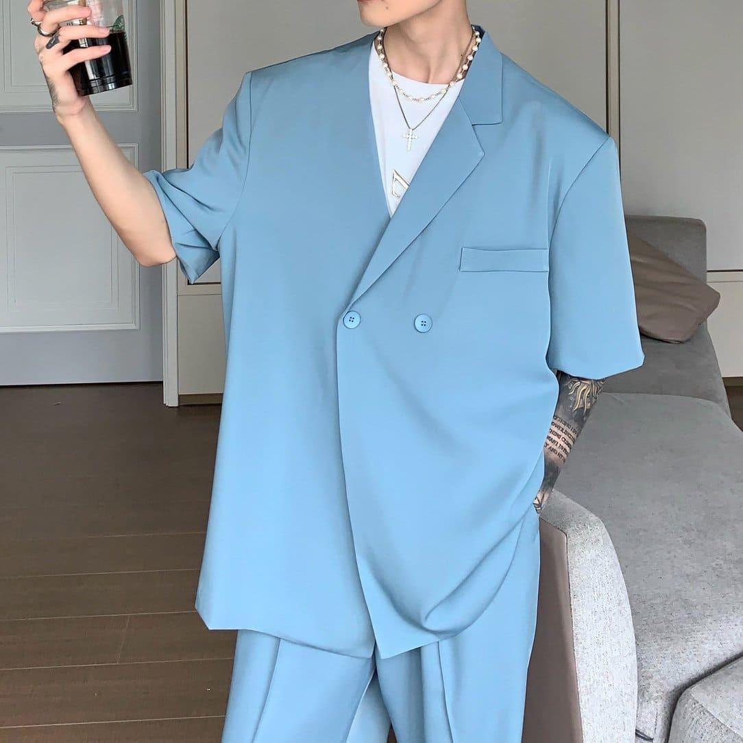 半袖テーラードジャケット/パンツ【セットアップ可能】